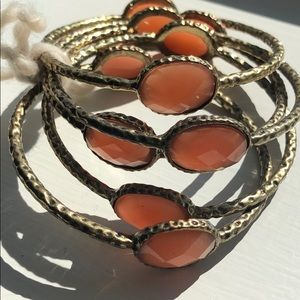 Jewelry - Set of 5 Brass-Tone Bangles with Peach Accents